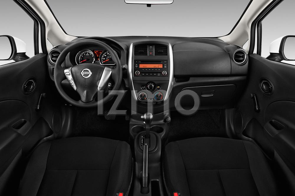 Stock photo of straight dashboard view of 2017 Nissan Versa-Note S-Plus 5 Door Hatchback Dashboard