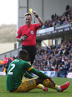 Preston North End's Darnell Fisher is shown a second yellow card leading immediately to a red card from Referee Oliver Langford<br /> <br /> Photographer Rich Linley/CameraSport<br /> <br /> The EFL Sky Bet Championship - Blackburn Rovers v Preston North End - Saturday 9th March 2019 - Ewood Park - Blackburn<br /> <br /> World Copyright © 2019 CameraSport. All rights reserved. 43 Linden Ave. Countesthorpe. Leicester. England. LE8 5PG - Tel: +44 (0) 116 277 4147 - admin@camerasport.com - www.camerasport.com