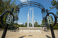 NWA Democrat-Gazette/BEN GOFF @NWABENGOFF<br /> Bike racks and a sculpture stand at the entrance Wednesday, Sept. 4, 2019, at Lawrence Plaza in downtown Bentonville. Bentonville Parks and Recreation plans to hold a public input meeting for the downtown parks master plan 6:00 p.m. Monday, Sept. 16 at the Bentonville Public Library.
