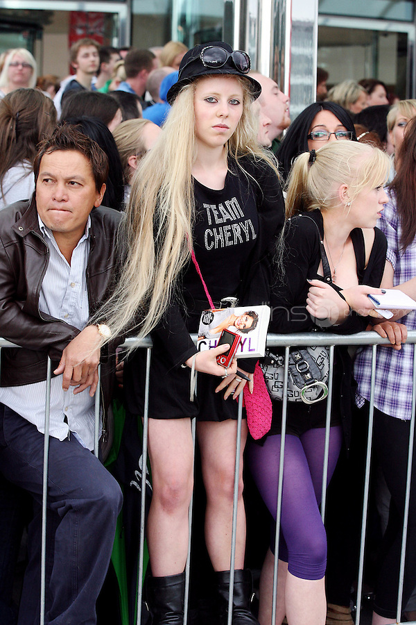 28/6/2010. The X Factor hopefulls are pictured outside the Dublin Convention center Spencer Dock. Picture James Horan/Collins.