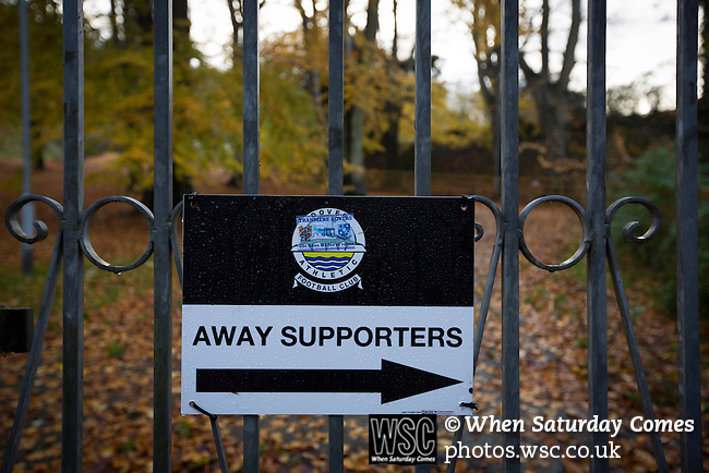 Dover Athletic 2 Cambridge United 4, 17/11/2016. The Crabble, FA Cup first round replay. A sign directing away supporters to the Crabble, pictured before National League Dover Athletic hosted League 2 Cambridge United in an FA Cup first round replay. The club was founded in 1983 after the dissolution of the town's previous club Dover FC, whose place in the Southern League was taken by the new club. Cambridge United won the tie by 4-2 after extra time, watched by a crowd of 1158. Photo by Colin McPherson.