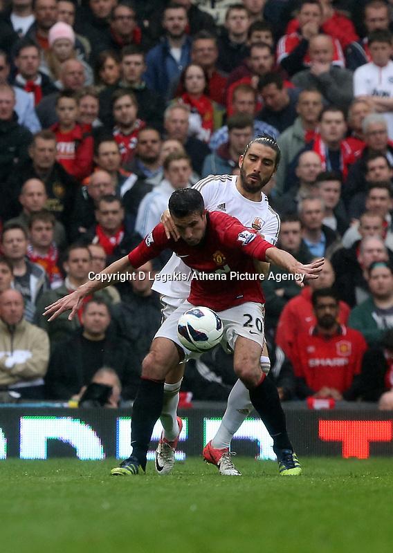 Pictured: (F-B) Robin van Persie, Chico Flores.<br /> Sunday 12 May 2013<br /> Re: Barclay's Premier League, Manchester City FC v Swansea City FC at the Old Trafford Stadium, Manchester.