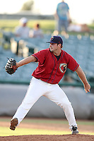Lancaster JetHawks pitcher Jeremiah Meiners #29 pitches against the Lake Elsinore Storm at Clear Channel Stadium on September 5, 2011 in Lancaster,California. Lake Elsinore defeated Lancaster 11-2.(Larry Goren/Four Seam Images)