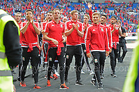 The Wales squad parade around the stadium during the homecoming celebrations at the Cardiff City stadium on Friday 8th July 2016 for the Euro 2016 Wales International football squad.<br /> <br /> <br /> Jeff Thomas Photography -  www.jaypics.photoshelter.com - <br /> e-mail swansea1001@hotmail.co.uk -<br /> Mob: 07837 386244 -