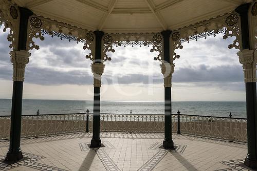 Brighton, Sussex, England. Victorian 'birdcage' bandstand, built in 1884, designed by Philip Lockwood.