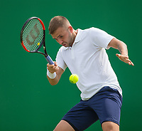 Daniel Evans in action<br /> <br /> Photographer Alex Dodd/CameraSport<br /> <br /> Tennis - ATP World Tour - Nature Valley Open Tennis Tournament - Day 3 - Wednesday 13th June 2018 - Nottingham Tennis Centre - Nottingham<br /> <br /> World Copyright &copy; 2018 CameraSport. All rights reserved. 43 Linden Ave. Countesthorpe. Leicester. England. LE8 5PG - Tel: +44 (0) 116 277 4147 - admin@camerasport.com - www.camerasport.com