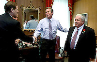 TALLAHASSEE, FL. 11/19/02-Gov. Jeb Bush, center, draws House Speaker Johnnie Byrd, R-Plant City,left, and Senate President Jim King, R-Jacksonville together at the close of their meeting after the Organizational Session of the Legislature Tuesday at the Capitol in Tallahassee. COLIN HACKLEY PHOTO