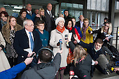 Julie Bailey, founder of patient campaign group Cure The NHS, with fellow campaigners outside the launch of the Mid-Staffordshire NHS Foundation Trust Public Inquiry Report by Robert Francis QC.  Westminster,  London.