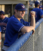 August 28, 2004:  Outfielder Adam Lind of the Auburn Doubledays, Short-Season Single-A affiliate of the Toronto Blue Jays, during a game at Dwyer Stadium in Batavia, NY.  Photo by:  Mike Janes/Four Seam Images