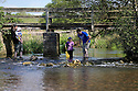 18/05/14<br /> <br /> Steph and Andy Berry take their children Tom (6 today) and Isla (2) for a spot of fishing in a river near Tissington, in the Derbyshire Peak District.<br /> <br /> All Rights Reserved - F Stop Press.  www.fstoppress.com. Tel: +44 (0)1335 300098