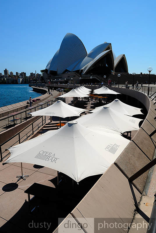 Umbrellas on the Sydney Opera House concourse. Sydney, Australia