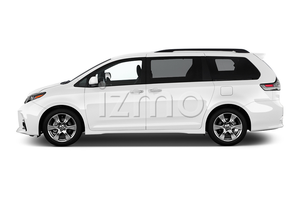 Car driver side profile view of a 2018 Toyota Sienna SE 5 Door Mini Van