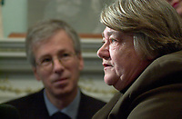 Dec 14,  2001, Montreal, Quebec, Canada<br /> Minister Stephane Dion (L) look as  Claudette Bradshaw, Minister of Labour and Federal and Co-ordinator on Homelessness (R)<br /> give a press conference at Chez Doris ( a shelter for homeless women) in presence of it's Director Doris and deputies from the Monrteal area<br /> <br /> Bradshaw spend the day in the Montreal area announcing  funding to address   homelessness in Quebec under the Government of<br /> Canada's National Homelessness Initiative.