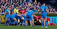 12th January 2020; RDS Arena, Dublin, Leinster, Ireland; Heineken Champions Cup Rugby, Leinster versus Lyon Olympique Universitaire; Luke McGrath of Leinster gets ready to put the ball into the scrum - Editorial Use