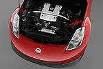 High angle engine detail of a 2008 Nissan 350z Coupe Nismo .