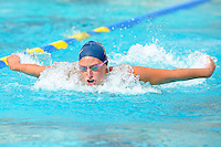 14 January 2012:  FIU's Cheslie Kidd competes in the 200 yard butterfly as the FIU Golden Panthers won the meet with the Central Connecticut State University Blue Devils at the Biscayne Bay Campus Aquatics Center in Miami, Florida.