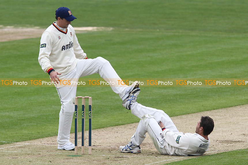 Billy Godleman (L) and Greg Smith of Essex perform some stretching exercises - Glamorgan CCC vs Essex CCC - LV County Championship Division Two Cricket at the SWALEC Stadium, Sophia Gardens, Cardiff, Wales - 04/05/12 - MANDATORY CREDIT: Gavin Ellis/TGSPHOTO - Self billing applies where appropriate - 0845 094 6026 - contact@tgsphoto.co.uk - NO UNPAID USE.