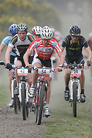 07 APR 2007 - THETFORD, UK - Ross Creber leads a pack during round 1 of the British Mountain Bike X Country series. (PHOTO (C) NIGEL FARROW)