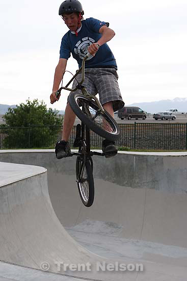 American Fork - Dillan Swank riding BMX at the American Fork Skate Park Friday May 22, 2009.