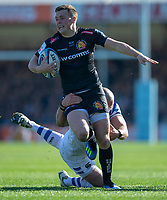 Exeter Chiefs' Joe Simmonds in action during todays match<br /> <br /> Photographer Bob Bradford/CameraSport<br /> <br /> Premiership Rugby Cup - Exeter Chiefs v Bath Rugby - Sunday 24th March 2019 - Sandy Park - Exeter<br /> <br /> World Copyright © 2018 CameraSport. All rights reserved. 43 Linden Ave. Countesthorpe. Leicester. England. LE8 5PG - Tel: +44 (0) 116 277 4147 - admin@camerasport.com - www.camerasport.com