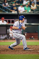 Round Rock Express left fielder Travis Snider (45) follows through on a swing during a game against the Memphis Redbirds on April 28, 2017 at AutoZone Park in Memphis, Tennessee.  Memphis defeated Round Rock 9-1.  (Mike Janes/Four Seam Images)