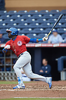 Anthony Alford (7) of the Buffalo Bison follows through on his swing against the Durham Bulls at Durham Bulls Athletic Park on April 25, 2018 in Allentown, Pennsylvania.  The Bison defeated the Bulls 5-2.  (Brian Westerholt/Four Seam Images)