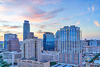 We took this aerial image of Austin cityscape of downtown at sunset which gave some nice pink color to the clouds as a nice backdrop.  You can actually see the capital in the distance with UT Tower behind it.  Also in the view is the Austonian, the W building, The Marriott, Frost and other well known Austin high-rises.