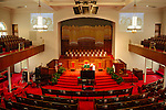 The sanctuary of 16th Street Baptist Church in downtown Birmingham, Alabama. In 1963, four girls were killed when a bomb under the church's side steps went off.