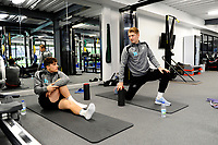 (L-R) Daniel James and George Byers of Swansea City in the gym during the Swansea City Training at The Fairwood Training Ground in Swansea, Wales, UK. Tuesday 08 January 2019