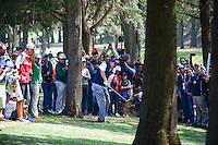 Phil Mickelson (USA) hits from the trees on 1 during round 4 of the World Golf Championships, Mexico, Club De Golf Chapultepec, Mexico City, Mexico. 3/5/2017.<br /> Picture: Golffile | Ken Murray<br /> <br /> <br /> All photo usage must carry mandatory copyright credit (&copy; Golffile | Ken Murray)