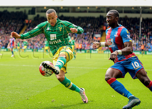 09.04.2016. Selhurst Park, London, England. Barclays Premier League. Crystal Palace versus Norwich. Norwich City Defender Martin Olsson controls the ball as Crystal Palace Midfielder Yannick Bolasie closes him down