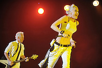 Singer Gwen Stefani, right, and guitarist Tom Dumont of American rock band No Doubt perform at Air Canada Centre on June 16, 2009 in Toronto, Canada. (Arthur Mola/pressphotointl.com)
