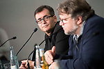 """Director of Sitges, Angel Sala and mexican director Guillermo del Toro during press conference of presentation of film 'The Shape of Water"""" during Sitges Film Festival in Barcelona, Spain October 05, 2017. (ALTERPHOTOS/Borja B.Hojas)"""