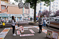 Roma 23 Maggio 2015<br /> La Campagna Slotmob contro la diffusione del gioco d&rsquo;azzardo legalizzato a organizzata una marcia nel quartiere Tiburtino consegnando degli adesivi ai bar slot-free che hanno rinunciato agli introiti dell&rsquo;azzardo per un puro gesto di responsabilit&agrave;, e che sono stati premiati, con una colazione di massa,  dei partecipanti alla marcia.<br /> Rome May 23, 2015<br /> Campaign Slotmob against the spread of legalized gambling in a march organized in the district Tiburtino delivering stickers to bar slot-free that they gave up to the revenue of chance for a pure gesture of responsibility  and have been rewarded with a Breakfast mass of marchers.