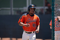 San Francisco Giants Orange left fielder Franklin Labour (49) jogs towards the dugout after scoring a run during an Extended Spring Training game against the Seattle Mariners at the San Francisco Giants Training Complex on May 28, 2018 in Scottsdale, Arizona. (Zachary Lucy/Four Seam Images)
