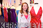 Niamh Hurley, Tralee manning the display of dress worn by former Roses of Tralee on selection nights over the years at an exhibition in Kerry County Museum.
