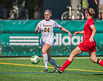 29 September 2013: University of Vermont Catamount Defender Sierra Rhoads, a Freshman from La Crescenta, CA, in action against the Stony Brook University Seawolves at Virtue Field in Burlington, Vermont. The Lady Cats fell to the visiting Seawolves 2-1 in America East play. Mandatory Credit: Ed Wolfstein Photo *** RAW (NEF) Image File Available ***