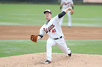 Bowie, MD - May 6, 2018: Bowie Baysox pitcher Keegan Akin (41) pitches the ball during the MiLB game between Akron and Bowie at  Baysox Stadium in Bowie, MD.  (Photo by Elliott Brown/Media Images International)