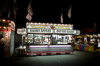 View of a food vendor stand selling cotton candy, candy apple and ice cold drinks at the North Carolina State Fair in Raleigh, NC, United States, 16 October 2008.