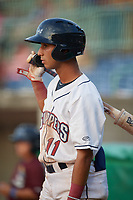Mahoning Valley Scrappers Brayan Rocchio (11) on deck during a NY-Penn League game against the Hudson Valley Renegades on July 15, 2019 at Eastwood Field in Niles, Ohio.  Mahoning Valley defeated Hudson Valley 6-5.  (Mike Janes/Four Seam Images)