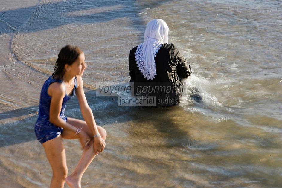 Asie/Israel/Tel-Aviv-Jaffa: la plage femmes musulmanes prenant leur bain