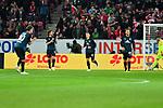 04.11.2018, Opel-Arena, Mainz, GER, 1 FBL, 1. FSV Mainz 05 vs SV Werder Bremen, <br /> <br /> DFL REGULATIONS PROHIBIT ANY USE OF PHOTOGRAPHS AS IMAGE SEQUENCES AND/OR QUASI-VIDEO.<br /> <br /> im Bild: Freust bei Max Kruse (SV Werder Bremen #10), Milos Veljkovic (SV Werder Bremen #13), Maximilian Eggestein (#35, SV Werder Bremen) und Philipp Bargfrede (#44, SV Werder Bremen) nach dem Gegentor<br /> <br /> Foto © nordphoto / Fabisch