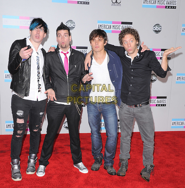 Marianas Trench.2011 American Music Awards - Arrivals held at Nokia Theatre LA Live, Los Angeles, California, USA..November 20th, 2011.ama amas ama's full length jeans denim black blue jacket leather shirt hands Josh Ramsay Matt Webb Mike Ayley Ian Casselman.CAP/RKE/DVS .©DVS/RockinExposures/Capital Pictures.