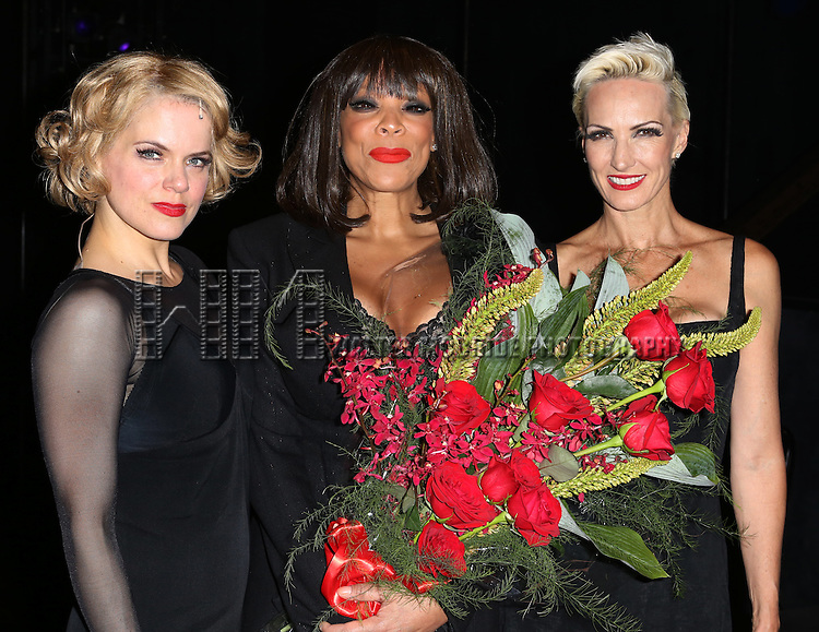 "Amy Spanger, Wendy Williams and Amra-Faye Wright backstage after Wendy Williams makes her Broadway stage debut as Matron ""Mama"" Morton in CHICAGO at the Ambassador Theatre on July 1, 2013 in New York City."