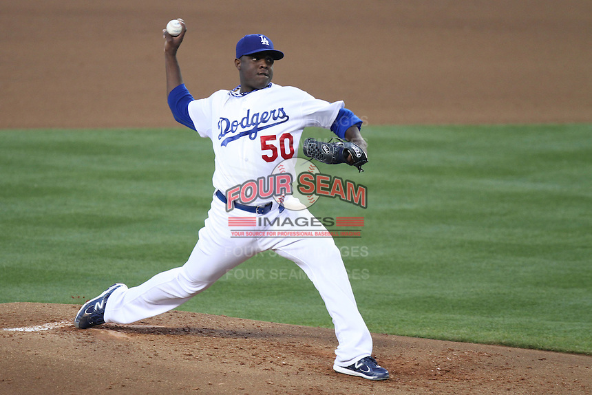Los Angeles Dodgers pitcher Rubby De La Rosa #50 pitches against the Houston Astros at Dodger Stadium on June 18, 2011 in Los Angeles,California. (Larry Goren/Four Seam Images)