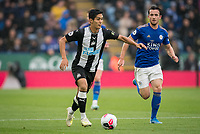 Yoshinori Muto of Newcastle United moves from Ben Chilwell of Leicester City during the Premier League match between Leicester City and Newcastle United at the King Power Stadium, Leicester, England on 29 September 2019. Photo by Andy Rowland.