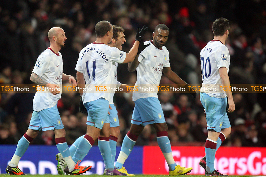 Darren Bent of Aston Villa is congratulated for scoring the second Villa goal -  Arsenal vs Aston Villa - at the Emirates Stadium - 29/01/12 - MANDATORY CREDIT: Dave Simpson/TGSPHOTO - Self billing applies where appropriate - 0845 094 6026 - contact@tgsphoto.co.uk - NO UNPAID USE.