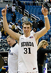 March 1, 2012:   Nevada Wolf Pack forward Olek Czyz celebrates after the game against the New Mexico State Aggies played at Lawlor Events Center on Thursday night in Reno, Nevada. Nevada (24-5, 12-1 WAC) won its fourth outright Western Athletic Conference title after defeating New Mexico State (22-9, 9-4 WAC) 65-61.