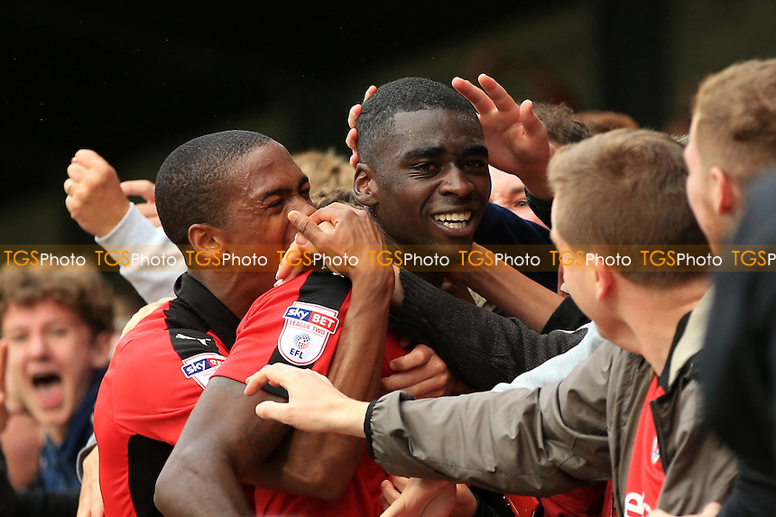 Enzio Boldewijn of Crawley Town celebrates scoring with the Crawley Town fans during Crawley Town vs Luton Town, Sky Bet EFL League 2 Football at Broadfield Stadium on 17th September 2016