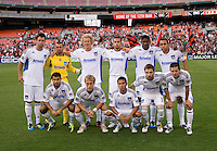 The San Jose Earthquakes line up before the game at RFK Stadium in Washington, DC.  D.C. United was defeated by the San Jose Earthquakes, 4-2.